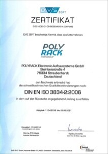 Polyrack offers welded enclosures and control cabinets according to ISO 3834